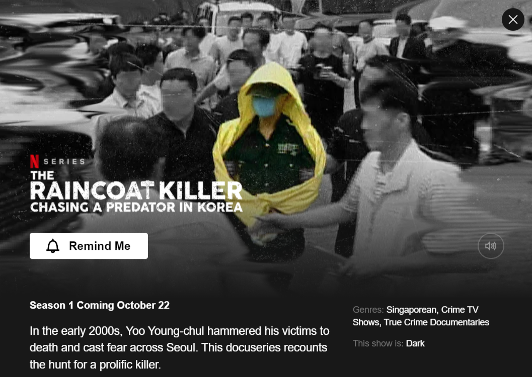 netflix the raincoat killer: chasing a predator in korea